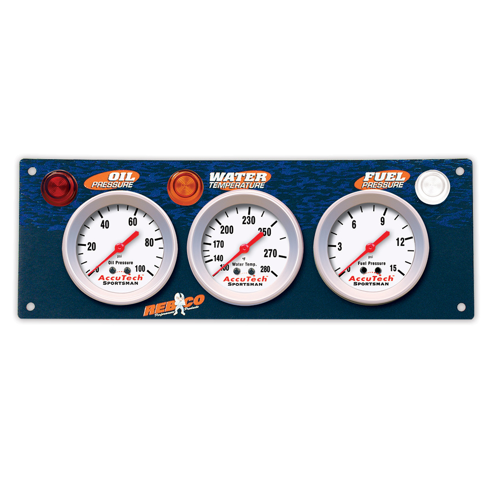 3 Gauge AccuTech™ Sportsman™ Gauge Panel - OP,WT,FP
