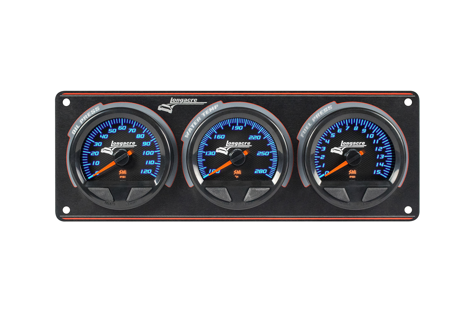 SMi™ Elite Waterproof Gauge Panel, 3 Gauge Oil Pressure/Water Temperature/Fuel Pressure 15psi
